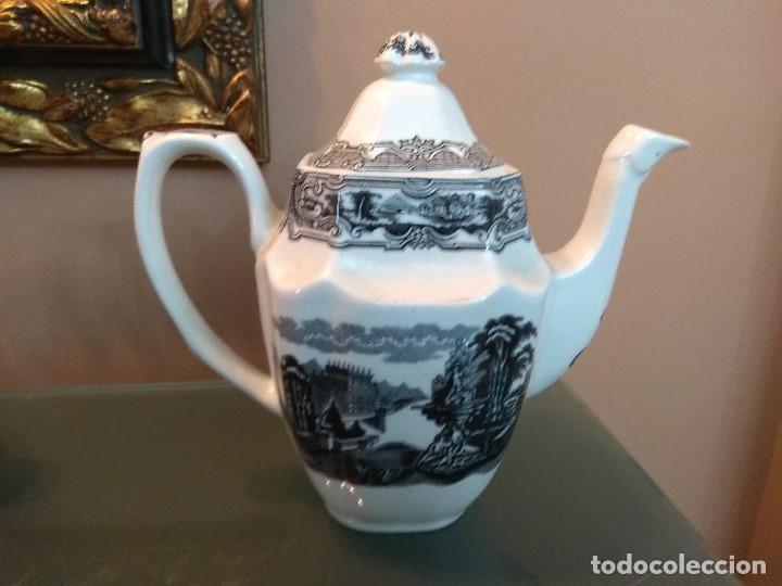 Antigüedades: JUEGO DE CAFE COMPLETO 15 PIEZAS DE LA CARTUJA DE SEVILLA PICKMAN SELLADO COLECCION VISTAS NEGRO - Foto 3 - 164663046