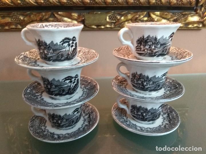 Antigüedades: JUEGO DE CAFE COMPLETO 15 PIEZAS DE LA CARTUJA DE SEVILLA PICKMAN SELLADO COLECCION VISTAS NEGRO - Foto 6 - 164663046