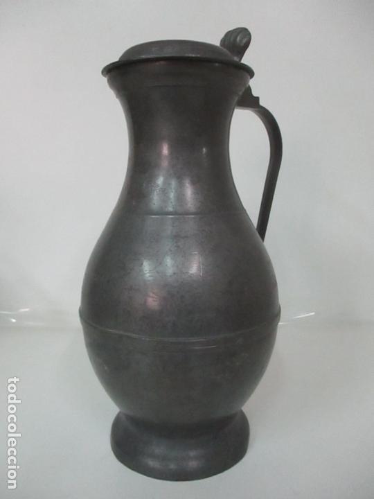 Antigüedades: Gran Jarra de Vino - Jarra, Peltre y Estaño - 36 cm Altura - Principios S. XX - Foto 2 - 164706490