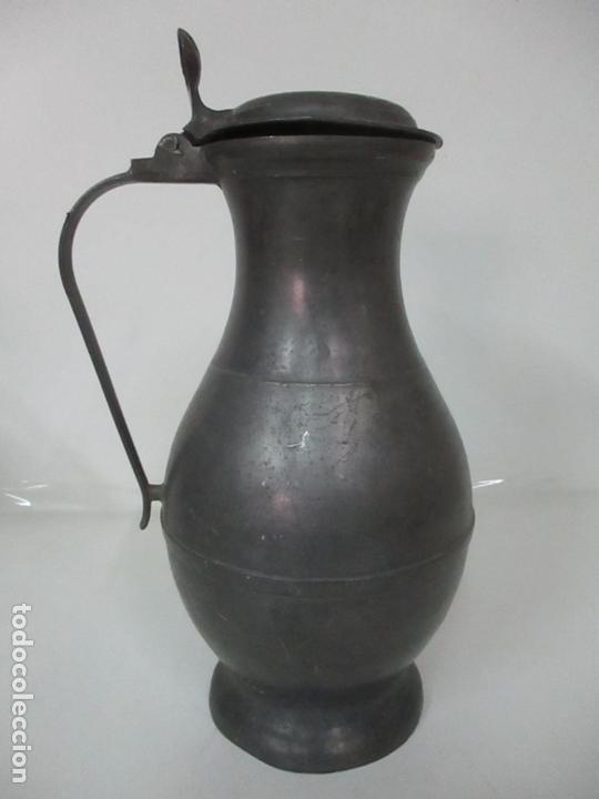 Antigüedades: Gran Jarra de Vino - Jarra, Peltre y Estaño - 36 cm Altura - Principios S. XX - Foto 4 - 164706490