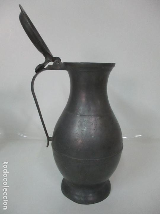 Antigüedades: Gran Jarra de Vino - Jarra, Peltre y Estaño - 36 cm Altura - Principios S. XX - Foto 11 - 164706490