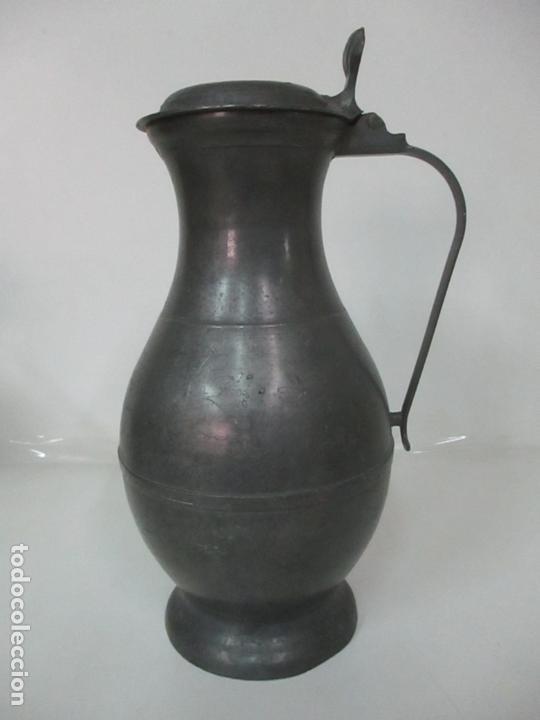 Antigüedades: Gran Jarra de Vino - Jarra, Peltre y Estaño - 36 cm Altura - Principios S. XX - Foto 13 - 164706490