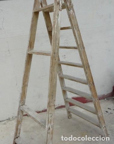 Antigüedades: Escalera antigua alta - Foto 7 - 164719858