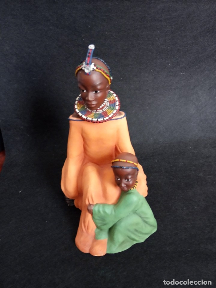 Antigüedades: FIGURA PERSONAJES AFRICANOS EN RESINA - Foto 2 - 164731410