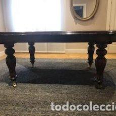 Antigüedades: MESA DE COMEDOR OVALADA EN MADERA DE NOGAL CLÁSICA VICTORIANA EXTENSIBLE CON MANIVELA. Lote 164734754