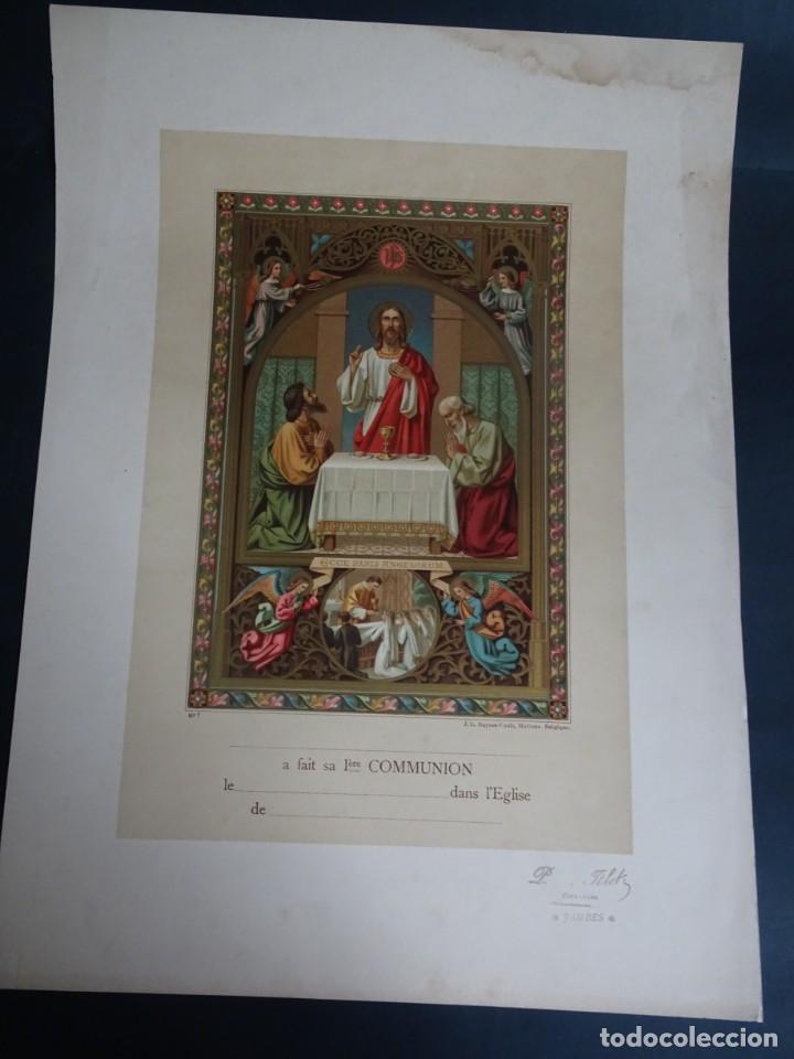 ANTIGUA LÁMINA , PRIMERA COMUNIÓN PRINCIPIO SIGLO XX, VER FOTOS (Antigüedades - Religiosas - Varios)