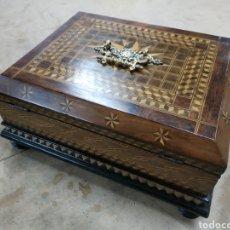 Antigüedades - Caja marquetería maderas nobles finales s. XIX - 164761992