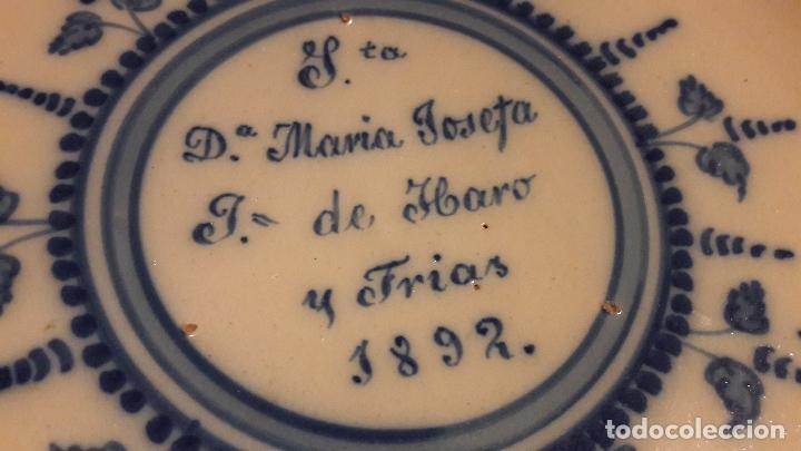 Antigüedades: Plato Talavera dedicado a Maria Josefa de Haro y Frias 1892 - Foto 2 - 164767210