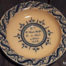 Antigüedades: PLATO TALAVERA DEDICADO A MARIA JOSEFA DE HARO Y FRIAS 1892. Lote 164767210