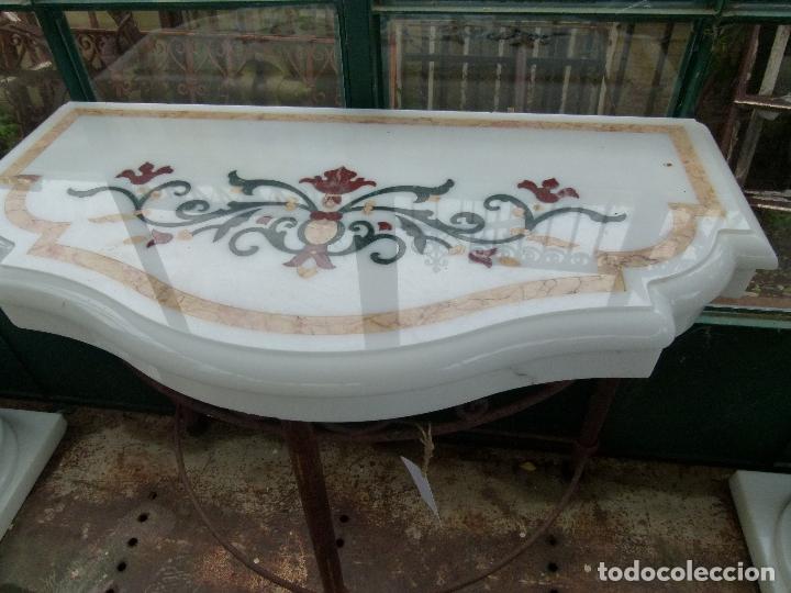 Antigüedades: CONSOLA DE MÁRMOL CON INCUSTRACIONES - Foto 3 - 164791246