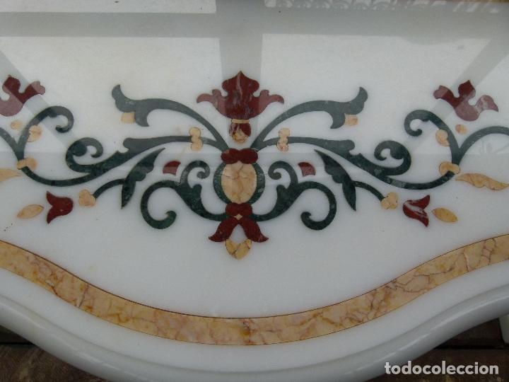 Antigüedades: CONSOLA DE MÁRMOL CON INCUSTRACIONES - Foto 4 - 164791246