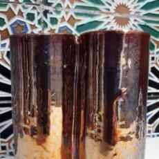 Antigüedades: JARRÓN DE CERÁMICA DE REFLEJOS FORMADO POR 3 VASOS. (TRIANA, SOBRE 1.920). Lote 164857718