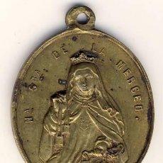 Antigüedades: PRECIOSA Y ANTIGUA MEDALLA DE BRONCE DE NTRA. SEÑORA DE LA MERCED Y S. RAMÓN NONATO.- 3,3 X 2,9 CMS.. Lote 164861522
