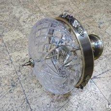Antigüedades: LÁMPARA DE CRISTAL TALLADO Y LATÓN . Lote 164891162