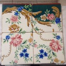 Antigüedades: 4 ANTIGUOS AZULEJOS PINTADOS. Lote 164908393