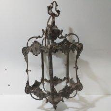 Antigüedades: ANTIGUO FAROLILLO DE BRONCE PENTAGONAL, CONSERVA SU PÁTINA. FALTA LOS CRISTALES.. Lote 164942950
