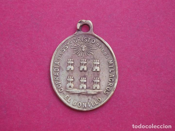 MEDALLA SIGLO XIX COFRADÍA SANTÍSIMO CRISTO DE LOS MILAGROS. EL BONILLO. ALBACETE (Antigüedades - Religiosas - Medallas Antiguas)