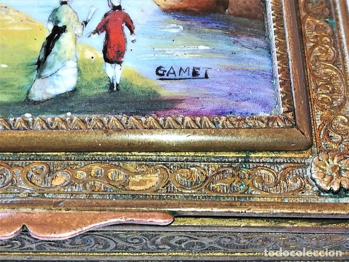 Antigüedades: ANTIGUA CAJA EN BRONCE SIGLO XIX,ESMALTE AL OLEO,FIRMADA GAMET,GALEON,PESCADORES,NOBLES,TEMA MARINA - Foto 5 - 164961166