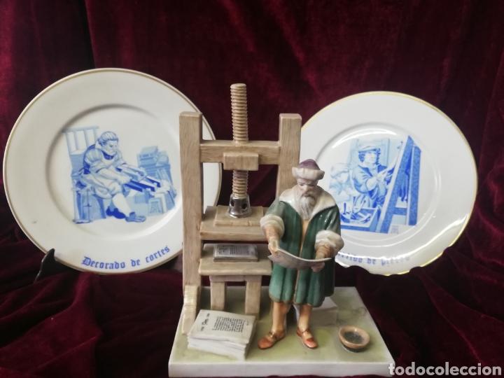FIGURA PORCELANA ALGORA Y 2 PLATOS ALGORA (Antigüedades - Porcelanas y Cerámicas - Algora)