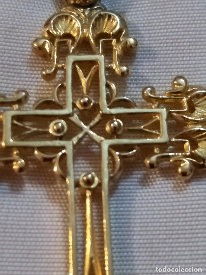 Antigüedades: MAGNIFICA CRUZ COLGANTE VINTAGE BAÑADA EN ORO, VER - Foto 4 - 164981734
