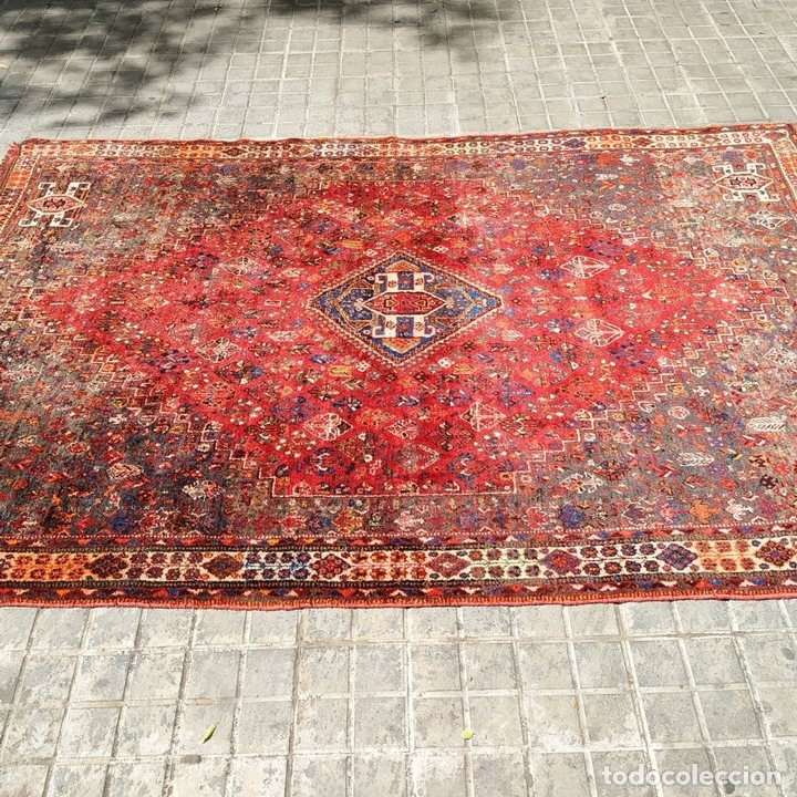 Antigüedades: GRAN ALFOMBRA SHIRAZ. LANA ANUDADA A MANO. IRAN. PRIMERA MITAD SIGLO XX - Foto 3 - 165019590