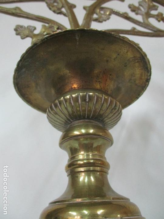 Antigüedades: Gran Candelabro Judío - Menora - Bronce Cincelado - 7 luces - 87 cm Altura - S. XIX - Foto 8 - 165026838