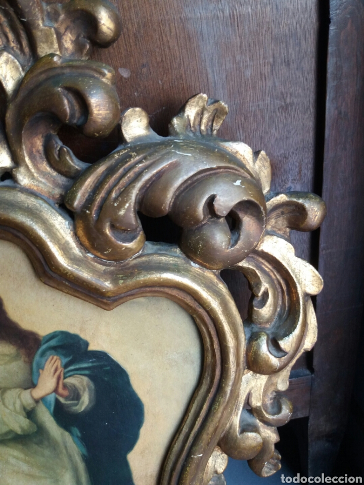 Antigüedades: BONITA CORNUCOPIA ANTIGUA DE MADERA EN ORO FINO - Foto 4 - 165036626