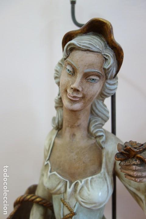 Antigüedades: PAREJA DE LAMPARAS DE PORCELANA DE MEDIADOS DEL SIGLO XX - Foto 2 - 165044282