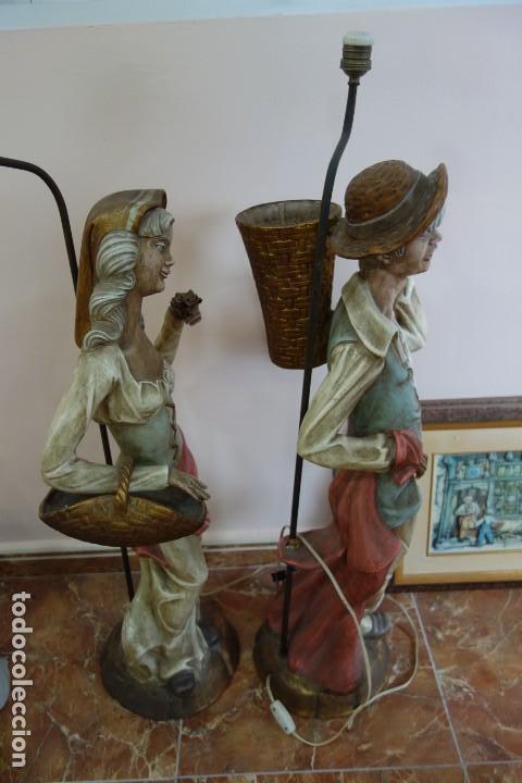 Antigüedades: PAREJA DE LAMPARAS DE PORCELANA DE MEDIADOS DEL SIGLO XX - Foto 9 - 165044282