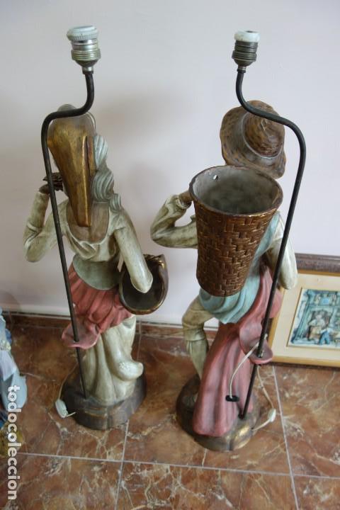 Antigüedades: PAREJA DE LAMPARAS DE PORCELANA DE MEDIADOS DEL SIGLO XX - Foto 10 - 165044282