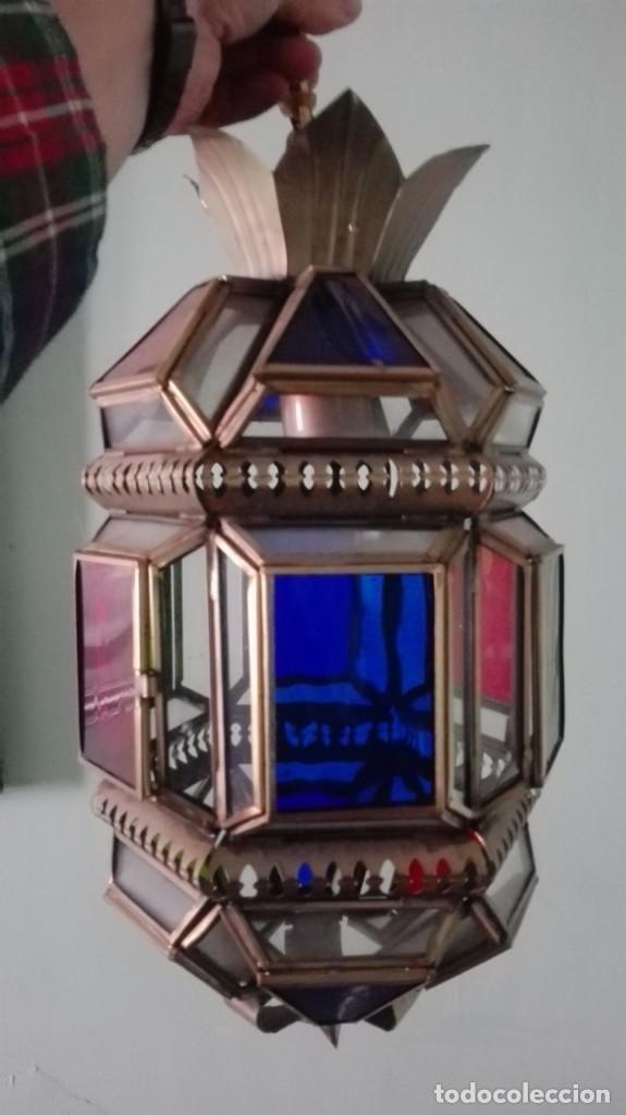 FAROL ARTESANAL VIDRIO EMPLOMADO DE COLORES TOTAL 52 CM (Antigüedades - Iluminación - Faroles Antiguos)