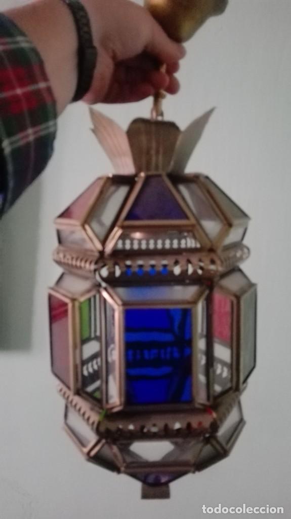 Antigüedades: farol artesanal vidrio emplomado de colores total 52 cm - Foto 3 - 165048446