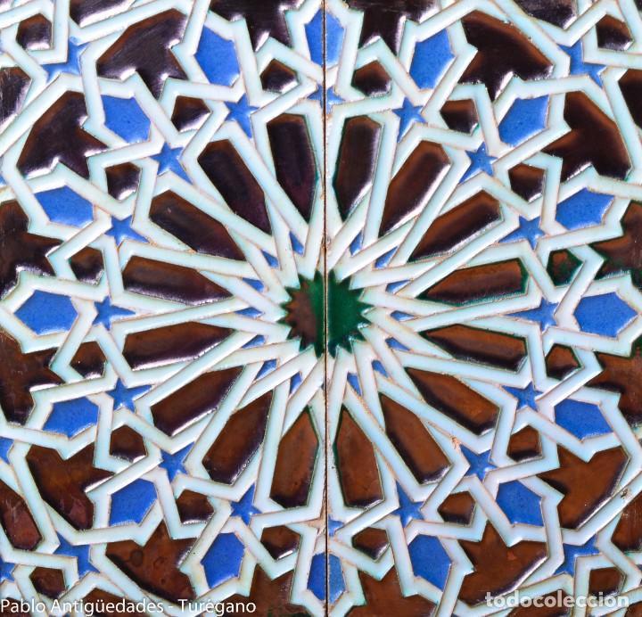 Antigüedades: Precioso macetero antiguo con azulejos de cerámica esmaltada con motivos arabescos mensaque? - Foto 8 - 165070030