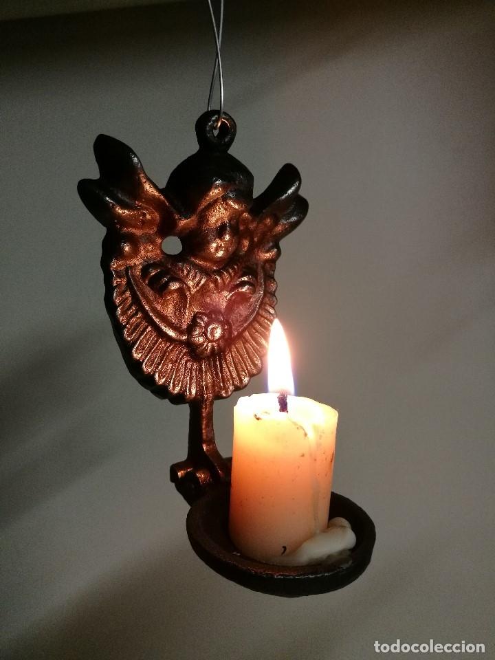 Antigüedades: portavelas palmatoria candelero de viaje.velatorio.liturgia.luto--ANGEL QUERUBIN..hierro siglo XIX - Foto 2 - 165074118