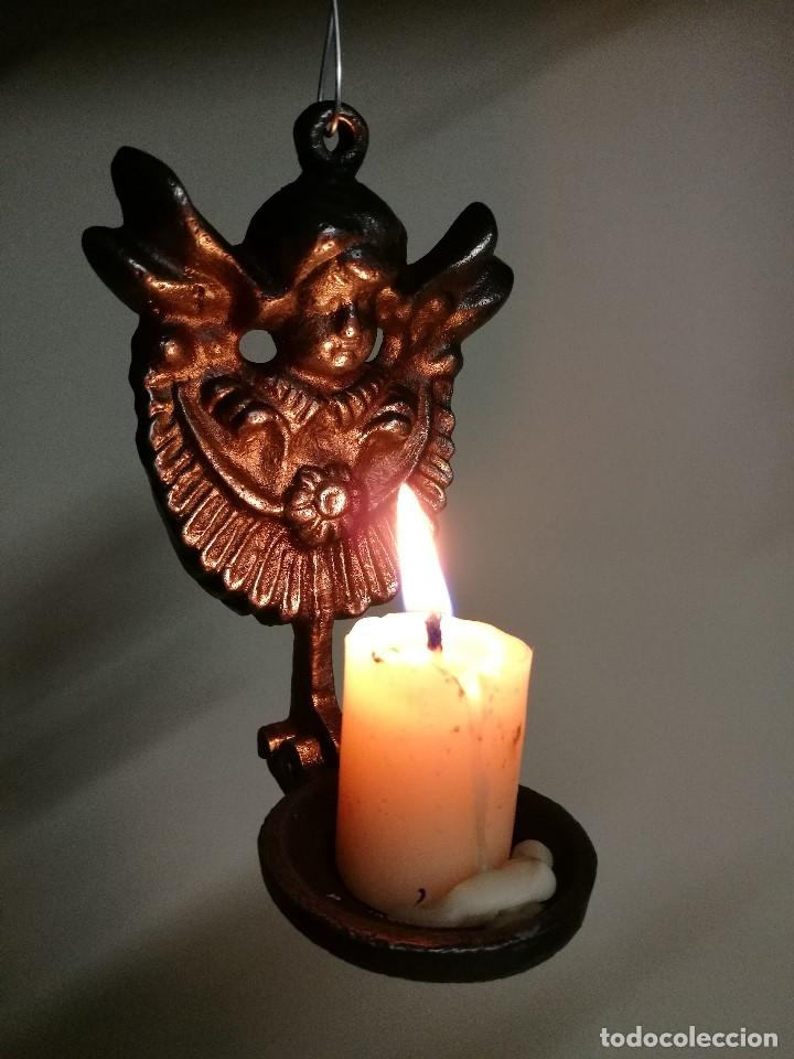 Antigüedades: portavelas palmatoria candelero de viaje.velatorio.liturgia.luto--ANGEL QUERUBIN..hierro siglo XIX - Foto 3 - 165074118