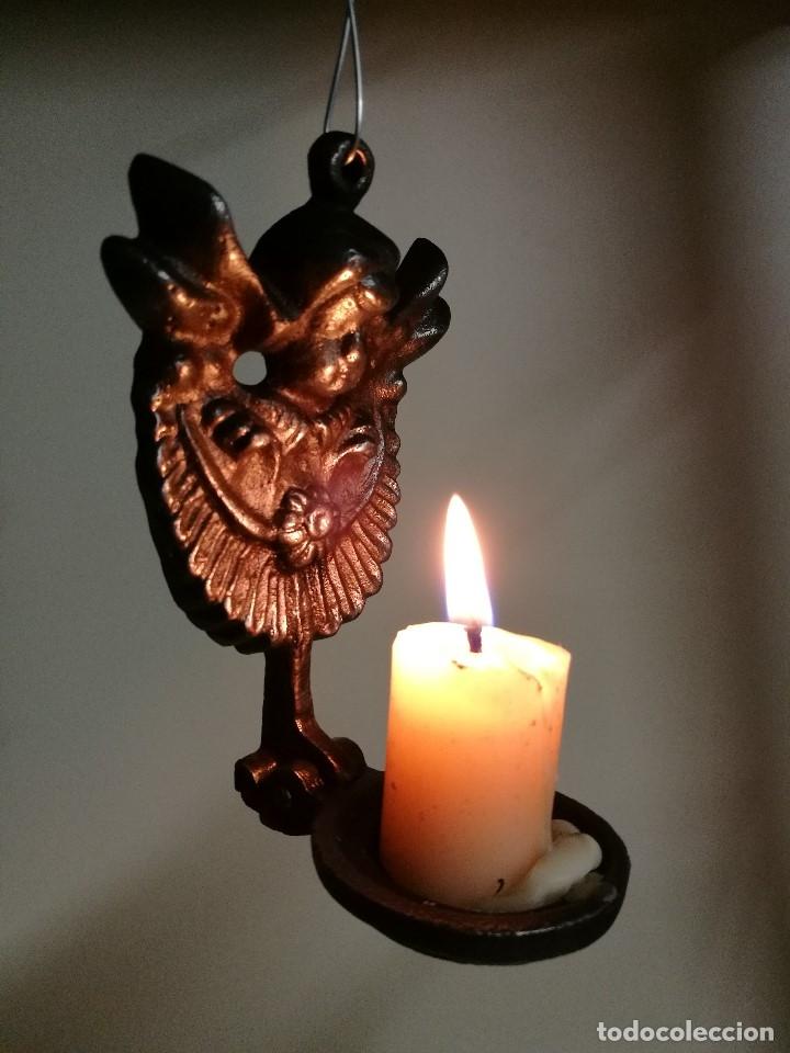 Antigüedades: portavelas palmatoria candelero de viaje.velatorio.liturgia.luto--ANGEL QUERUBIN..hierro siglo XIX - Foto 4 - 165074118