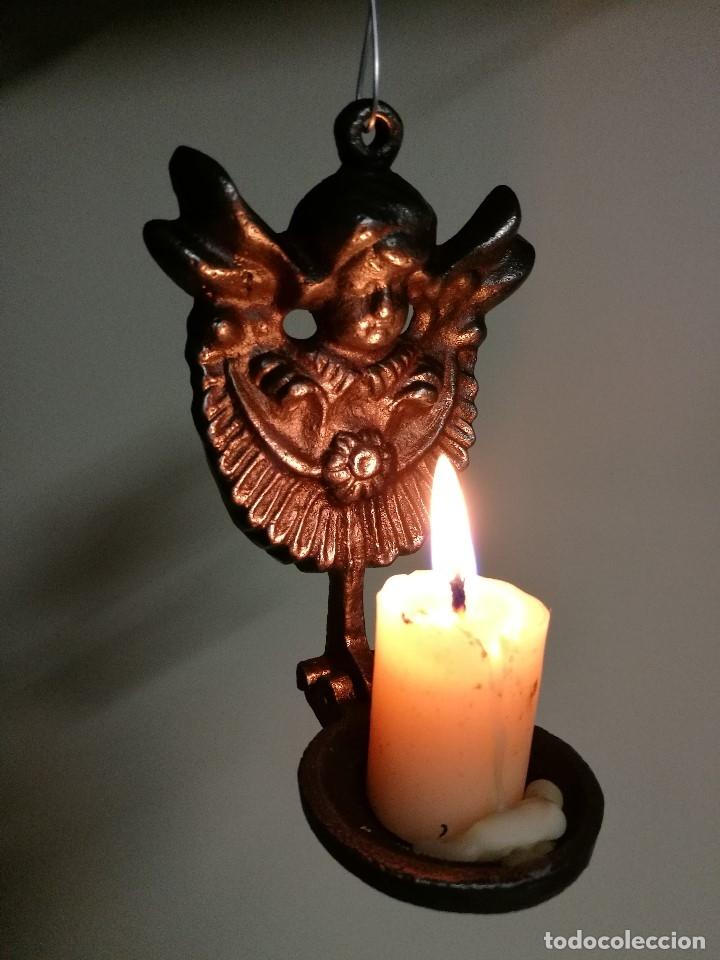Antigüedades: portavelas palmatoria candelero de viaje.velatorio.liturgia.luto--ANGEL QUERUBIN..hierro siglo XIX - Foto 8 - 165074118