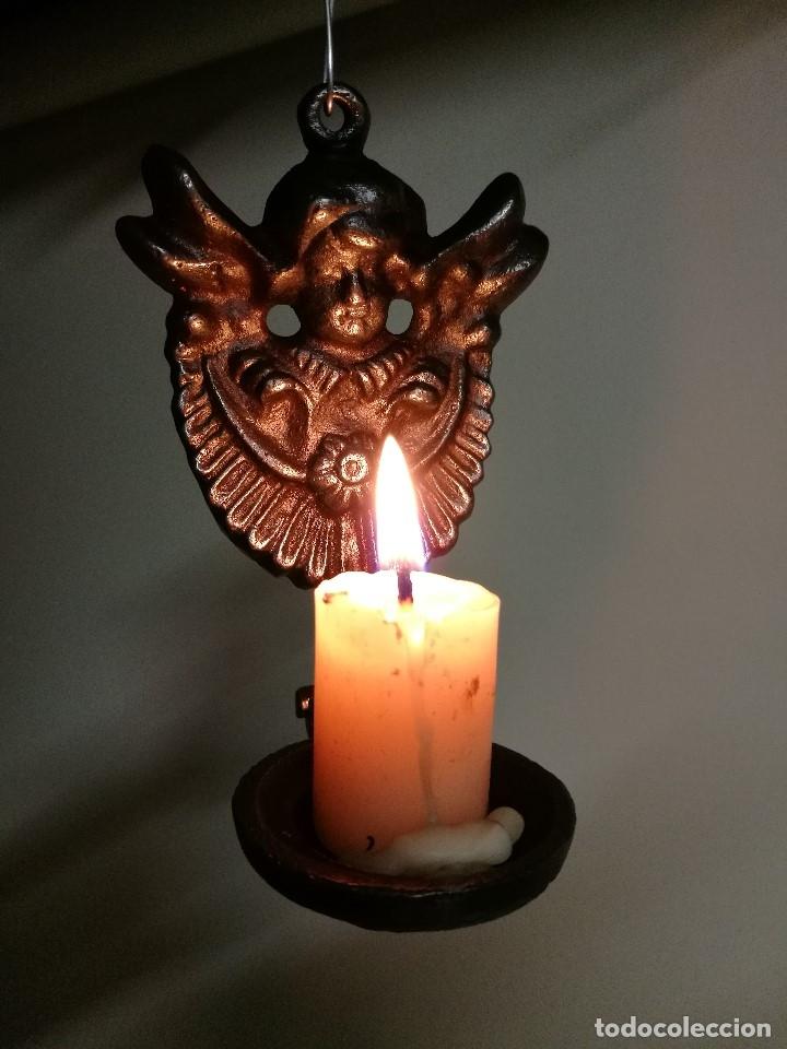 Antigüedades: portavelas palmatoria candelero de viaje.velatorio.liturgia.luto--ANGEL QUERUBIN..hierro siglo XIX - Foto 5 - 165074118