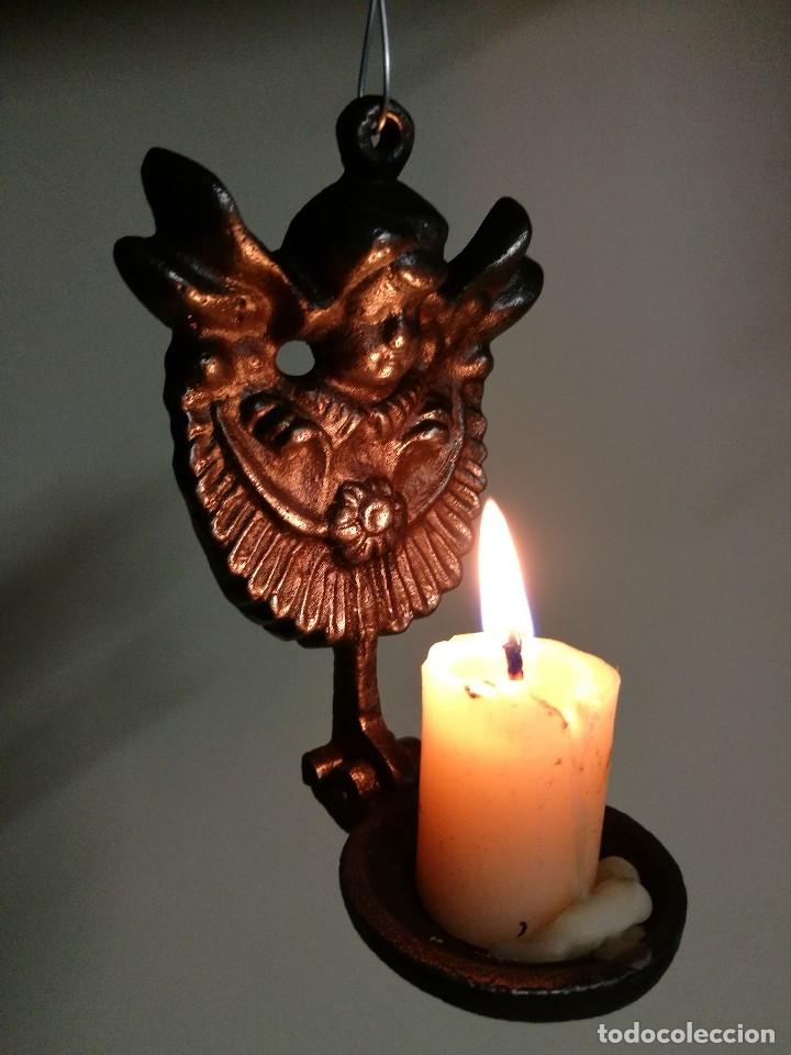 Antigüedades: portavelas palmatoria candelero de viaje.velatorio.liturgia.luto--ANGEL QUERUBIN..hierro siglo XIX - Foto 10 - 165074118