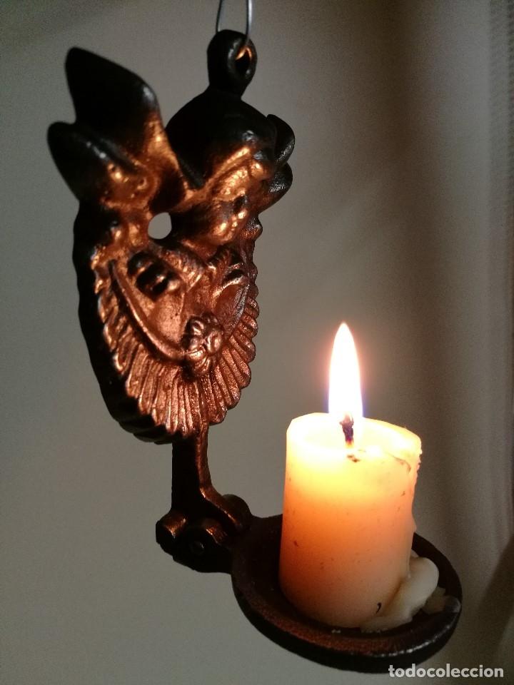 Antigüedades: portavelas palmatoria candelero de viaje.velatorio.liturgia.luto--ANGEL QUERUBIN..hierro siglo XIX - Foto 9 - 165074118