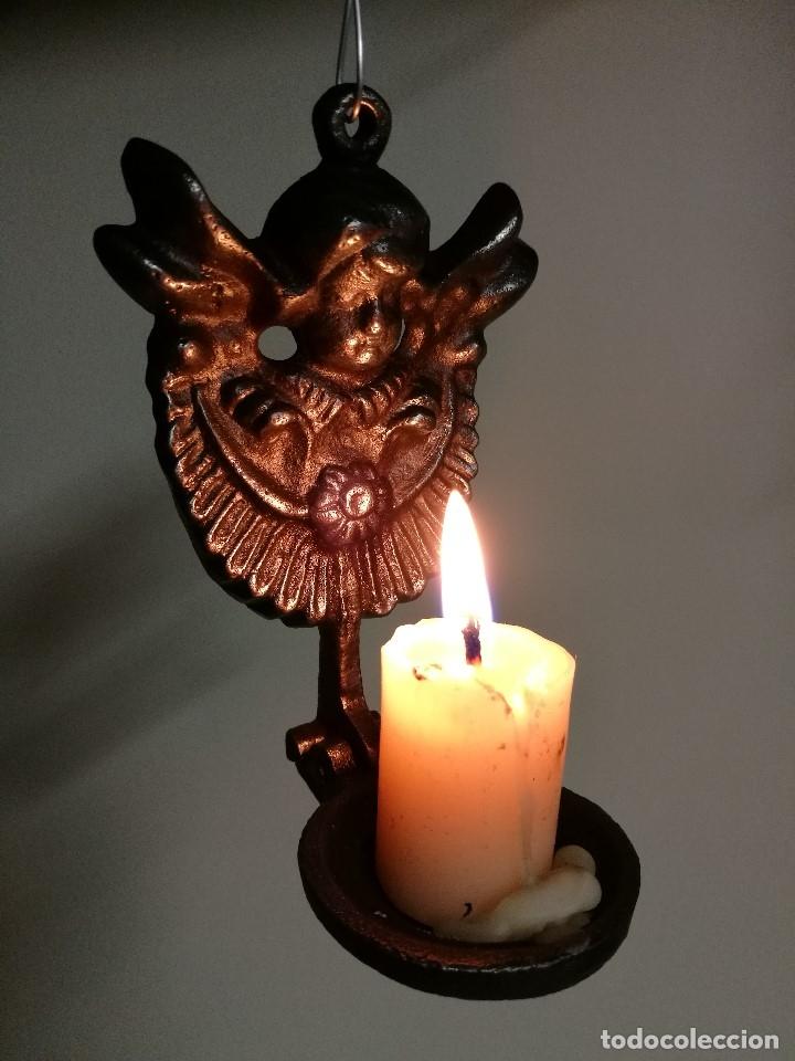 Antigüedades: portavelas palmatoria candelero de viaje.velatorio.liturgia.luto--ANGEL QUERUBIN..hierro siglo XIX - Foto 13 - 165074118
