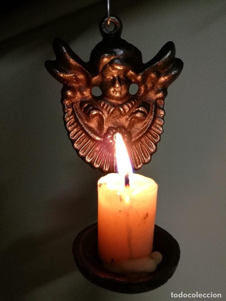 Antigüedades: portavelas palmatoria candelero de viaje.velatorio.liturgia.luto--ANGEL QUERUBIN..hierro siglo XIX - Foto 11 - 165074118