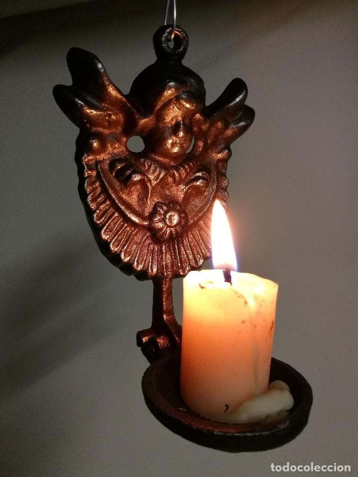 Antigüedades: portavelas palmatoria candelero de viaje.velatorio.liturgia.luto--ANGEL QUERUBIN..hierro siglo XIX - Foto 12 - 165074118