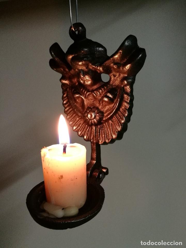 Antigüedades: portavelas palmatoria candelero de viaje.velatorio.liturgia.luto--ANGEL QUERUBIN..hierro siglo XIX - Foto 16 - 165074118