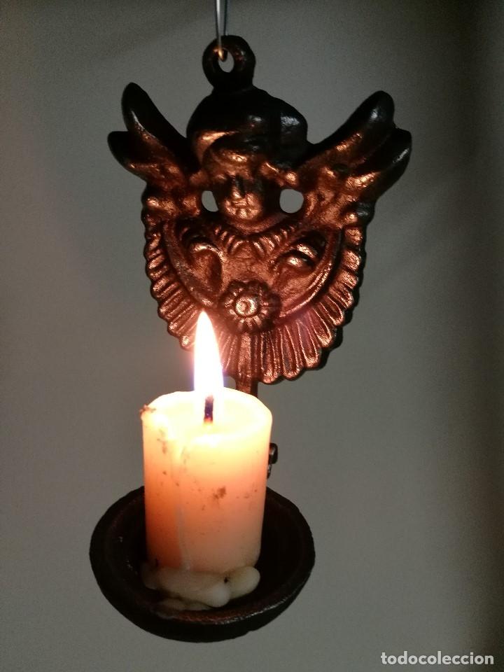 Antigüedades: portavelas palmatoria candelero de viaje.velatorio.liturgia.luto--ANGEL QUERUBIN..hierro siglo XIX - Foto 14 - 165074118