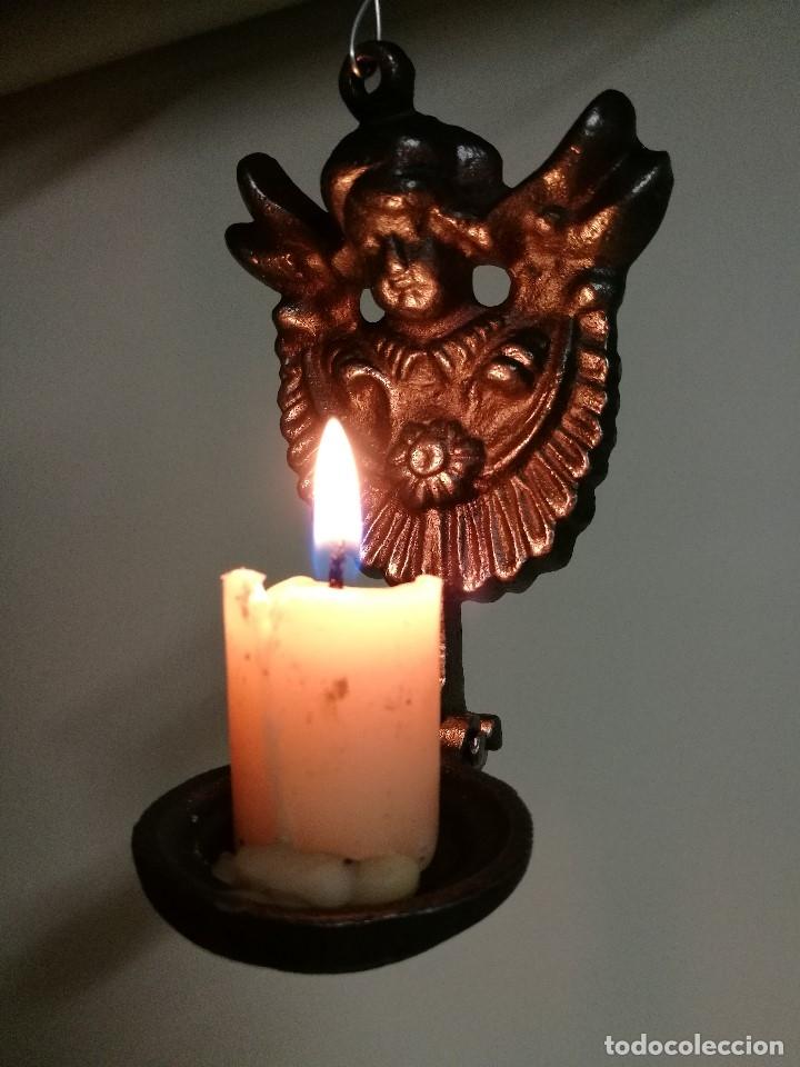 Antigüedades: portavelas palmatoria candelero de viaje.velatorio.liturgia.luto--ANGEL QUERUBIN..hierro siglo XIX - Foto 19 - 165074118