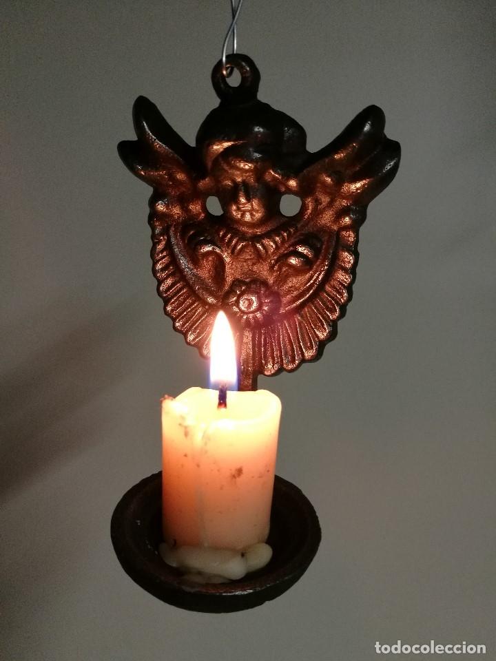 Antigüedades: portavelas palmatoria candelero de viaje.velatorio.liturgia.luto--ANGEL QUERUBIN..hierro siglo XIX - Foto 18 - 165074118