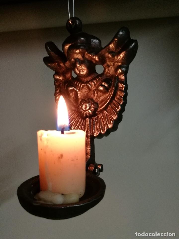 Antigüedades: portavelas palmatoria candelero de viaje.velatorio.liturgia.luto--ANGEL QUERUBIN..hierro siglo XIX - Foto 17 - 165074118