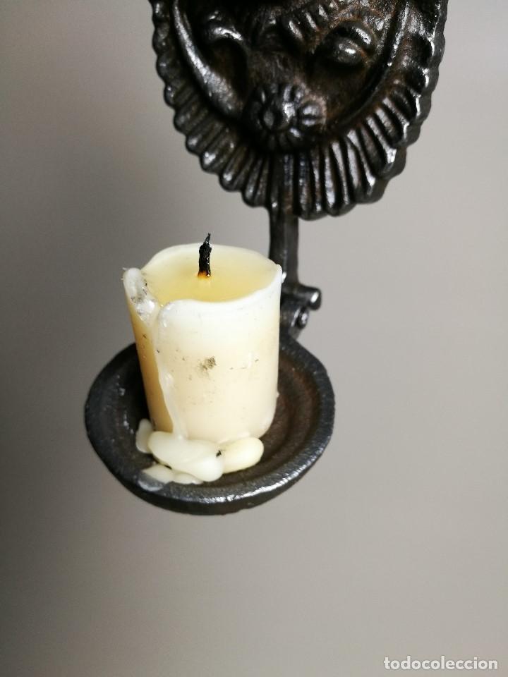 Antigüedades: portavelas palmatoria candelero de viaje.velatorio.liturgia.luto--ANGEL QUERUBIN..hierro siglo XIX - Foto 24 - 165074118