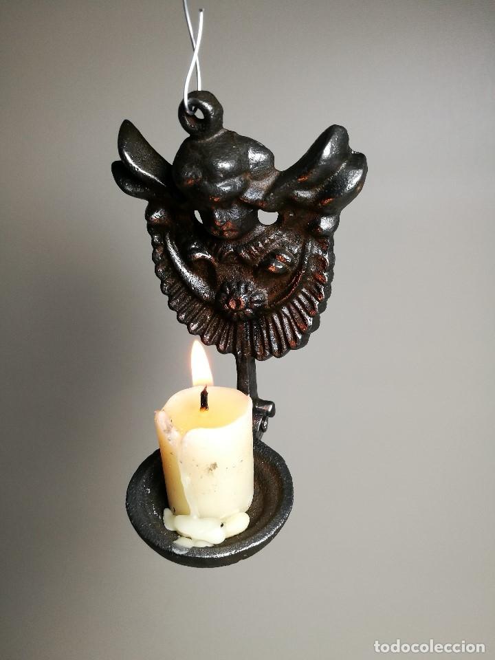 Antigüedades: portavelas palmatoria candelero de viaje.velatorio.liturgia.luto--ANGEL QUERUBIN..hierro siglo XIX - Foto 23 - 165074118